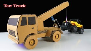 How to make RC Tow Truck at home with cardboard easy - Mr H2 Diy