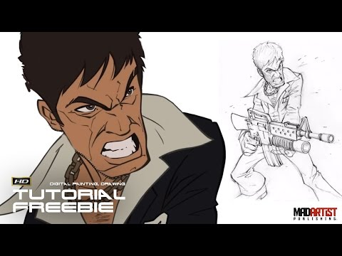 Digital Artist & illustrator Patrick Brown Tutorial on how to draw & paint Tony Montana of SCARFACE