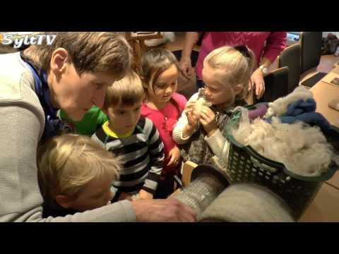 Vom Schaf zum fertigen Stoff, Sylter Weberinnen haben Kinder eingeladen