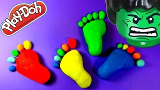 STINKY HULK FEET! Play Doh Surprise Eggs–Sponge Bob Dora the Explorer LEGO Shopkins Season 2 Marvel