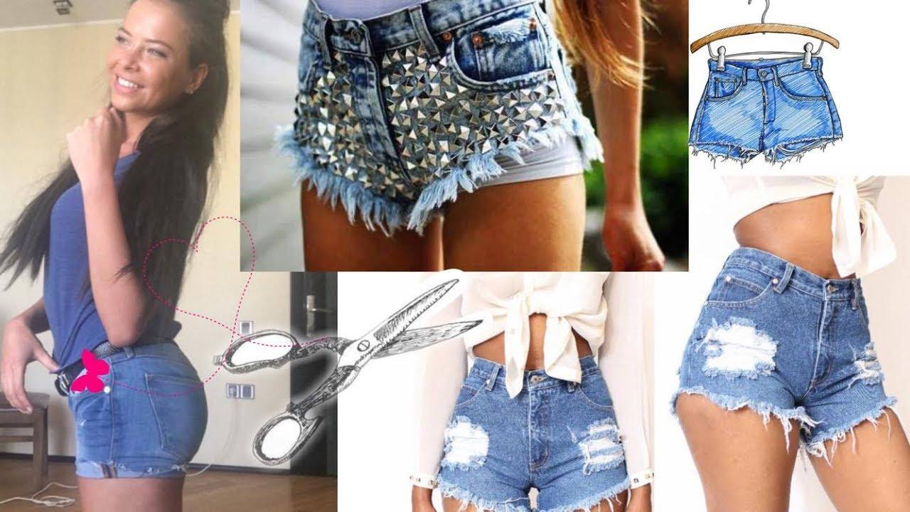 Как сделать красивый шорты из джинс 974