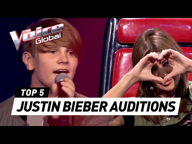 BEST JUSTIN BIEBER BLIND AUDITIONS in The Voice and The Voice Kids PART 3