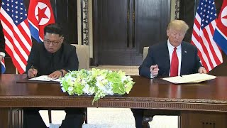 North Korea summit: Trump and Kim Jong Un sign historic agreement