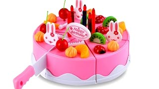 Pretend Play For Kids Toy Cutting Velcro Fruit Birthday Cake Plastic Playsetsby Unbox Me