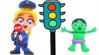 FROZEN ELSA POLICE & BABY HULK STOP THE TRAFFIC ❤ Hulk & Frozen Play Doh Cartoons For Kids
