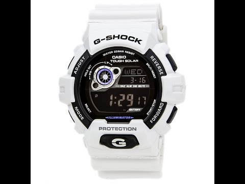 Casio GR8900A-7 Men's G-Shock Tough Solar Power White Resin Digital Watch Review Video
