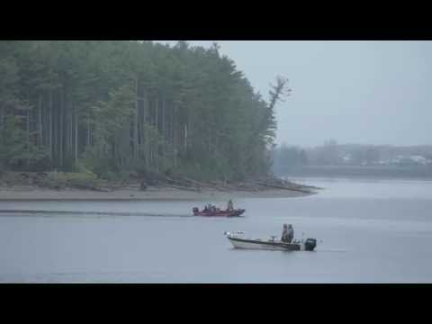 Bass fishing on the Miramichi River - New Brunswick, Canada
