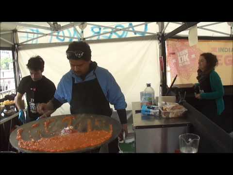 "PAV BHAJI freshly prepared at ""Horn OK Please"" Indian Street Food Stall at Alchemy Festival, London"
