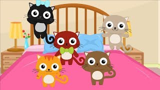 Five Little Kittens Jumping on the bed   Nursery Rhymes and Kids Songs