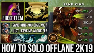 How to Solo Offlane & Jungle Sand King with First ITEM Veil Deleted Meepo + Zero Death Top MMR DotA2
