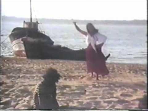 Lovely lady dances flamenco on the beach