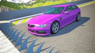 Spikes Embedded in Ramp against Cars Jumping Crashes #3 - BeamNG drive