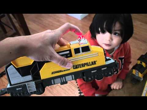 Toy Trains For Kids: Unboxing Construction Model Railway Train (cat) video