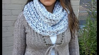 How to crochet with fingers a infinity scarf and neck warmer - FREE TUTORIAL