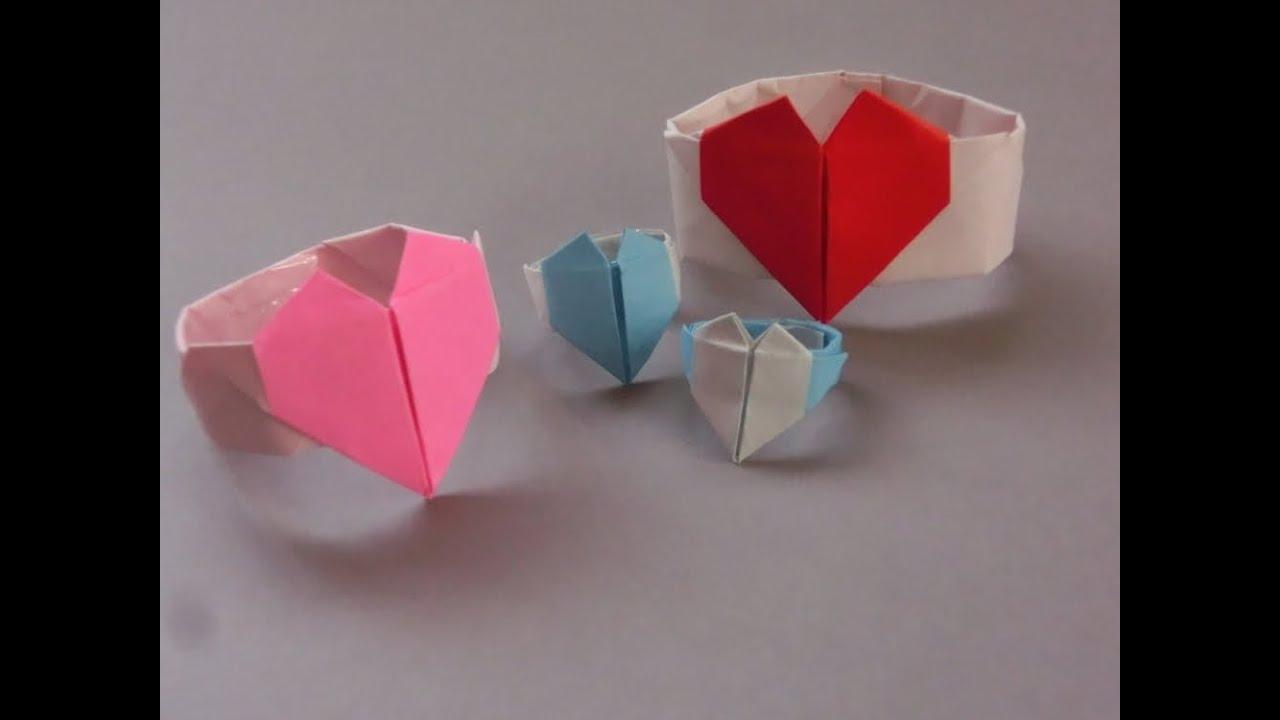 すべての折り紙 ハートの指輪 折り紙 : 折り紙「ハートのリングの ...