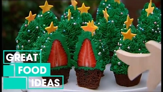 Better Homes and Gardens - Fast Ed: Strawberry Christmas tree cupcakes