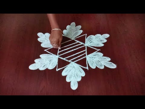 Simple Star Kolam ||  Star With Leaf Design Muggulu || Rangoli & Fashion World