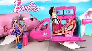 Barbie Doll Airplane Travel Morning Routine with Color Reveal Dolls