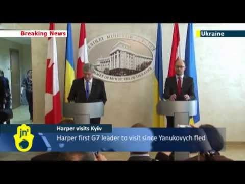 Harper in Kyiv: Canadian PM denounces Putin's Crimea invasion during historic meeting