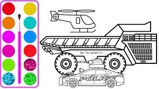 Vẽ xe ô tô tải chở cát khổng lồ | Dạy bé vẽ | Dạy bé tô màu | Gaint car drawing and coloring