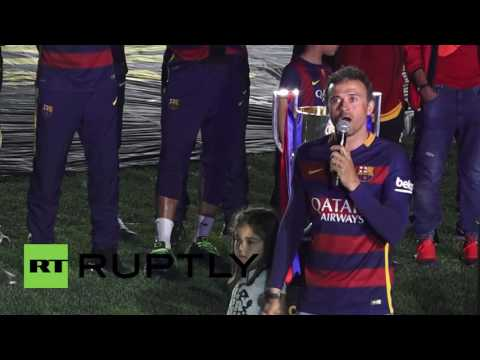 Spain: FC Barcelona celebrate Copa del Rey victory with a bang