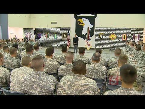 Sec. Of Defense Chuck Hagel Visits Troops At Fort Campbell