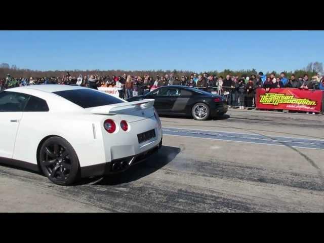 Nissan GT-R vs Audi R8 V10 1/4 mile - YouTube