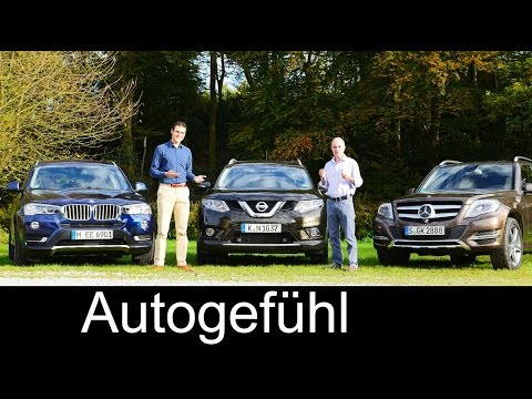 BMW X3 vs Mercedes GLK-Class vs Nissan Rogue X-Trail (all-new) COMPARISON test drive REVIEW