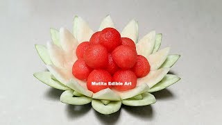 Easy Simple Watermelon Flower Design | Beginners Lesson 99 | by Mutita Edible Art Of Fruit Carving V