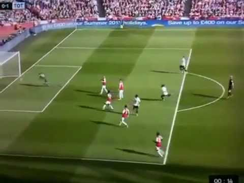 Referee Mike Dean celebrated Louis Saha's Tottenham goal v Arsenal