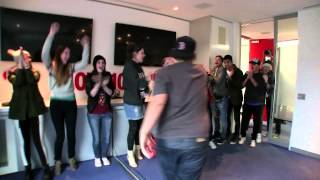 The Wanted surprise fans in the Nova office