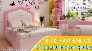 Thiết kế phòng ngủ phòng ngủ màu hồng hiện đại cho bé BBG137 - Nội Thất Baby