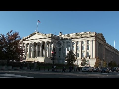 U.s. Treasury Department - With Traffic and Tourists Crossing Street. Stock Footage