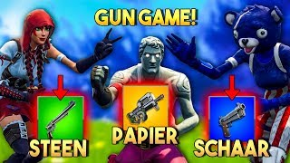 GUN GAME BATTLE met STEEN PAPIER SCHAAR!! - Fortnite Playground (Nederlands)