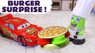 Funny Funlings Burger Surprise food for Disney Cars McQueen with Chef Funling