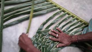 How to make coconut leaf mat,how to make kobbari matta,how to make palm leaf mat,palm leaf uses