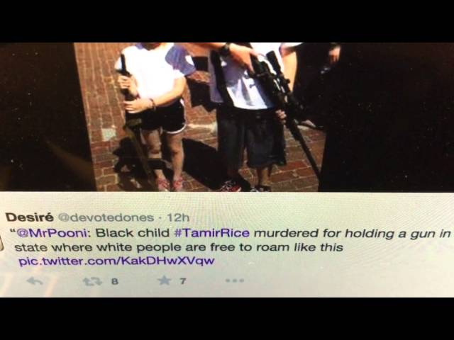 Trending now: #TamirRice People react by posting pictures of white kids posing with guns online