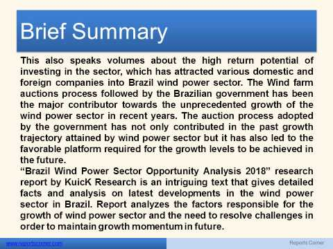 Brazil Wind Power Sector Opportunity Analysis 2018 - Reports Corner