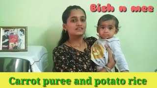 6-8 months old baby food   carrot puree   potato rice   weight gaining recipe