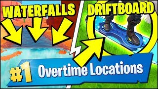 VISIT DIFFERENT WATERFALLS, SEARCH CHESTS OR AMMO BOXES AT THE BLOCK (Fortnite OVERTIME Challenges)