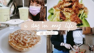 a day in my life at home (vegan cooking, nature walk, online school)