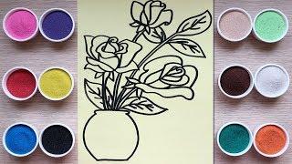 Tô màu tranh cát bông hoa hồng - Đồ chơi trẻ em - Learn colors with sand painting toys (Chim Xinh)