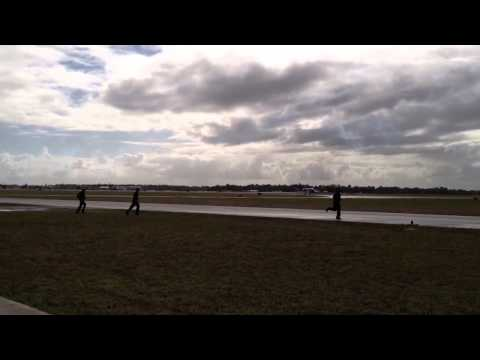 L-39 and Mig-17 flyby, landing and taxi to staging