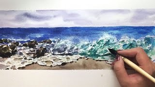 Time Lapse Watercolor Crushing Waves Ocean by Untamed Little Wolf