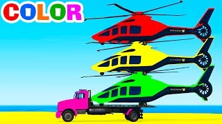 FUNNY HELICOPTER on Truck & Cars for Kids & Spiderman Cartoon Colors for Toddlers w Nursery Rhymes
