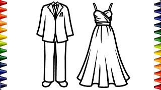 Wedding Bride and Groom Coloring Page for Kids | Children's Coloring Book | Bum Bum Colors ☆