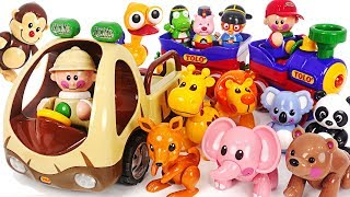 Let's Go to Tolo Safari with Pororo! a villain steals a bear! Police car on the move! #PinkyPopTOY