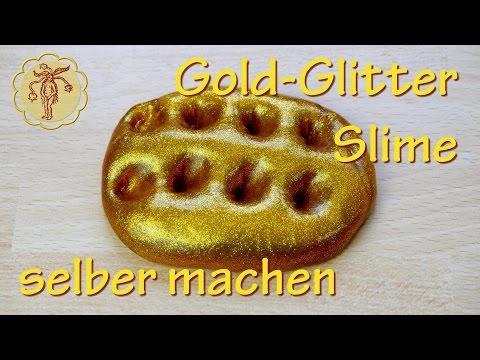 Gold-Glitter-Slime selber machen - ohne Waschmittel und ohne Boraxpulver