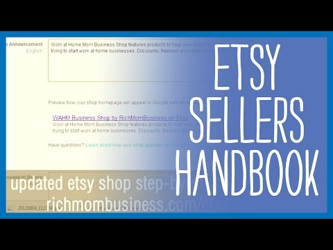 Etsy Sellers Handbook - How to sell on Etsy and get Google Rank - Updated