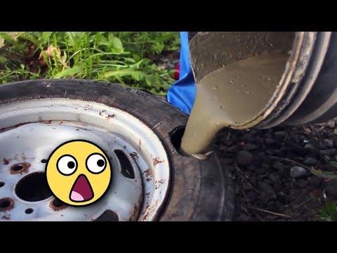 Araba Lastiğini Çimento İle Doldurursanız Ne Olur? Bu Çılgın Fikri Denemeyin